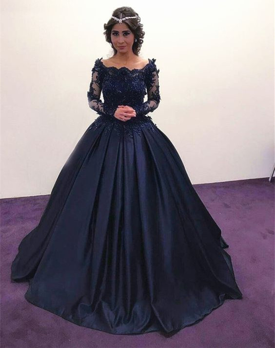 Princess/A-line Long Sleeves Prom Dress With Applique&Beaded Satin ...