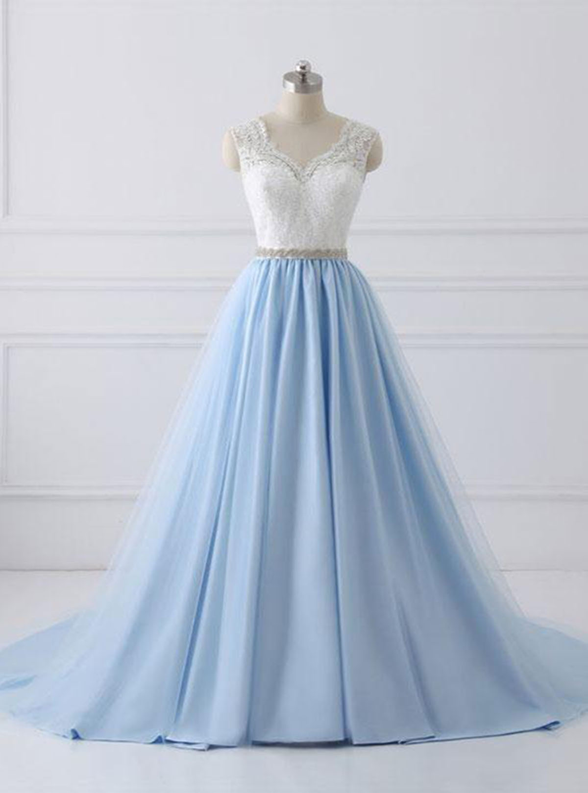 Cheap Prom Dresses by SweetheartDress · Fresh blue long white lace ...