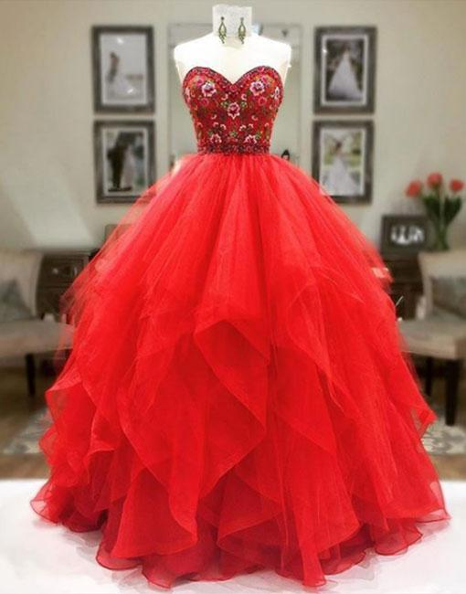 Charming Prom Dress, Red Tulle Appliques Ball Gown Prom Dresses ...