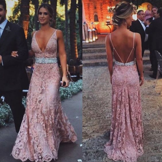 Blush pink prom Dresses,lace prom dress,long evening gowns,lace prom ...