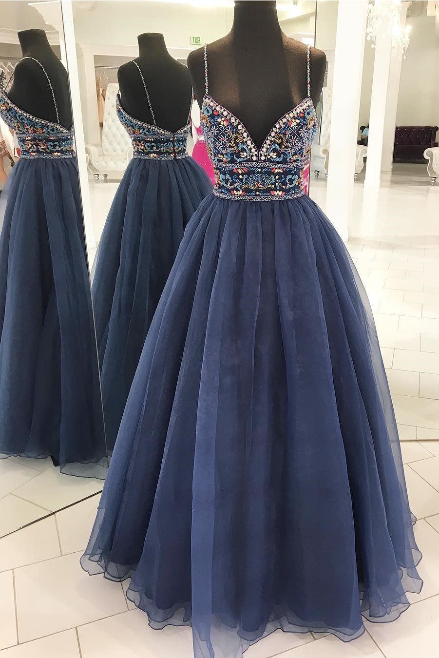Prom Dress with Colored Beading, Graduation Party Dresses, Prom ...