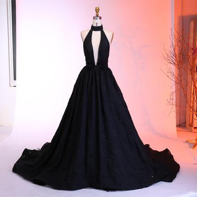 4c40b8d97eb Hot sexy a-line deep v-neck black long prom evening dress with
