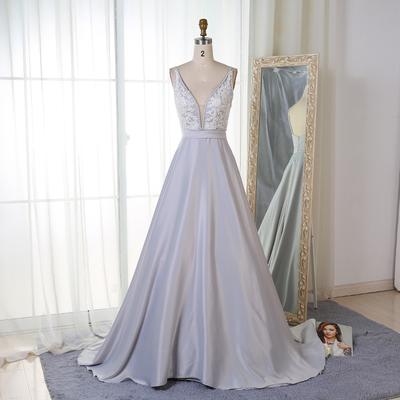 2323b7ef2b3 Charming a-line v-neck satin long prom evening dress with appliques