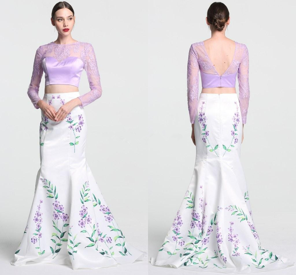 Two Piece Floral Print Pattern Evening Dresses Mermaid Hollow Back ...