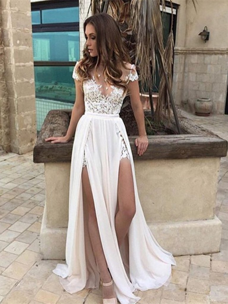 Round Neck Cap Sleeves White Lace Wedding Dress, White Lace Formal ...