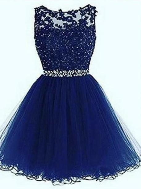 Round Neck Short Royal Blue Prom Dress Royal Blue Homecoming Dress