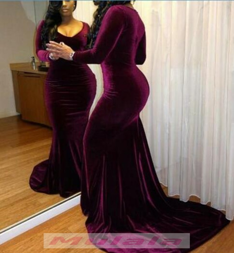 2018 African Plus Size Prom Dresses Long Sleeve Burgundy Velvet ...