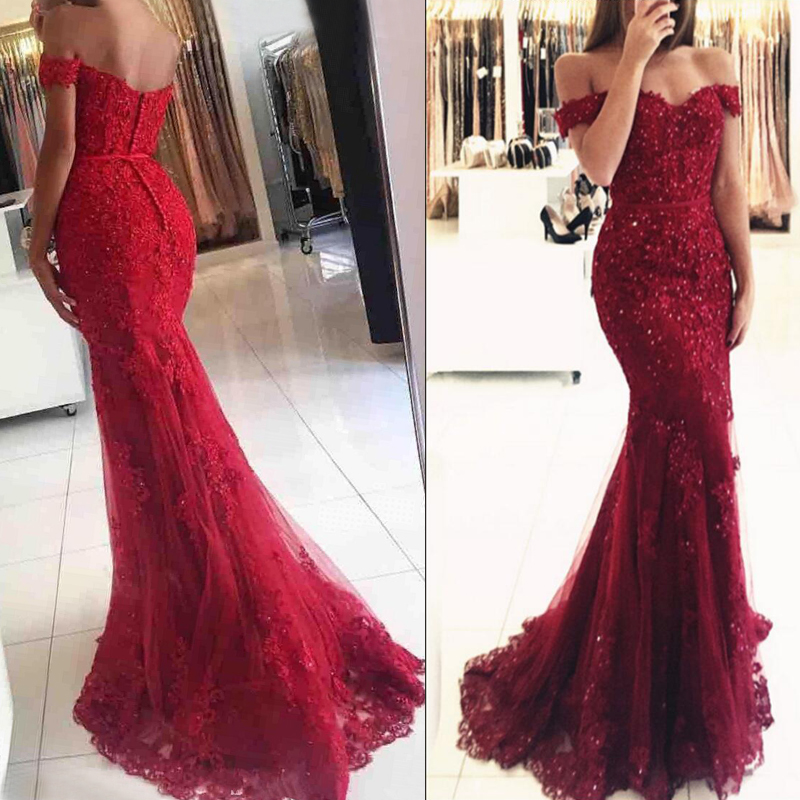Red Mermaid Off Shoulder Lace Beaded Prom Evening Dresses, 2017 ...