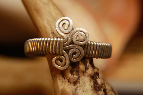 Solid Sterling Silver Wire Wrapped Adjustable Ring