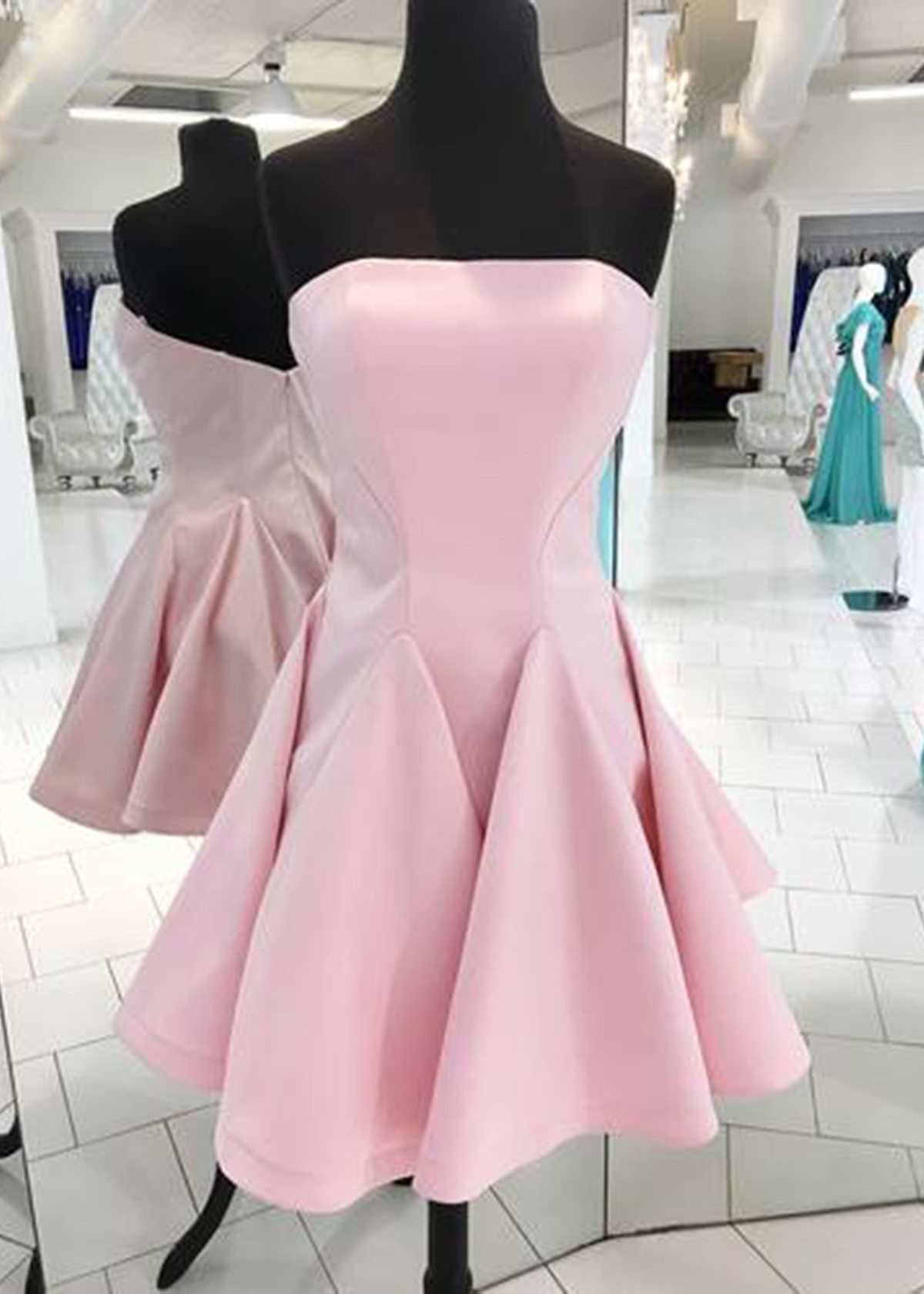 Fashion pink satin strapless mini bridesmaid dress, short party ...