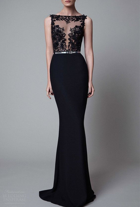 Charming Black Mermaid Prom Dress ,Black Beads Evening Gown ...