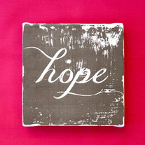 "Subway Art Wall Hanging Canvas 6"" x 6"" - HOPE - Inspirational Art"