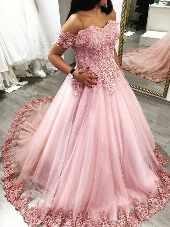 Elegant Appliques Pink Quinceanera Dress, Tulle Ball Gown Prom Dress ...