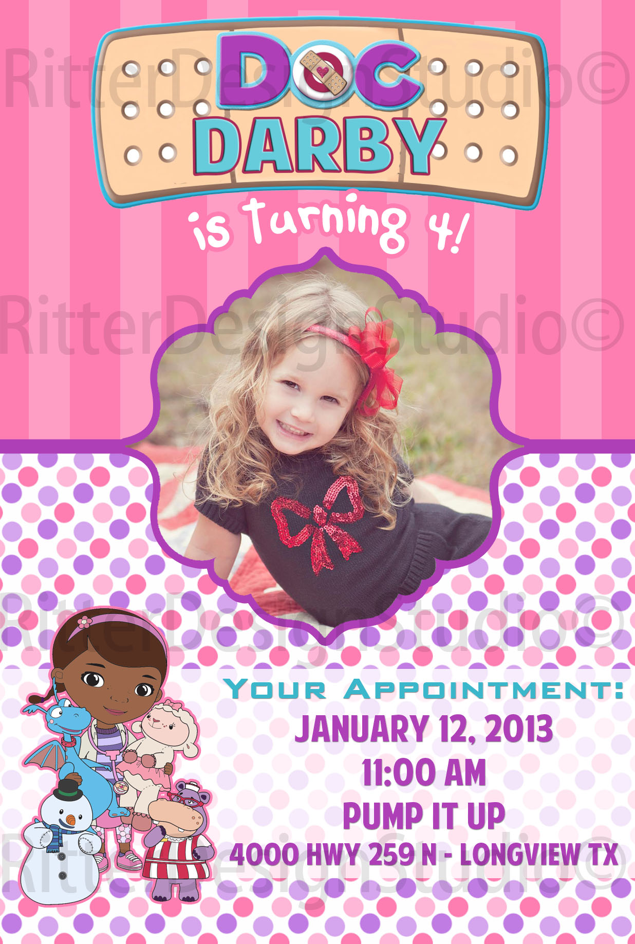 picture regarding Doc Mcstuffins Printable Invitations known as Document McStuffins Birthday Invitation - Printable/Electronic Document versus Ritter Style Studio