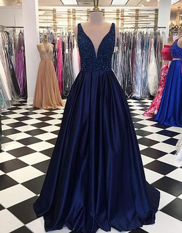 Unique navy blue satin long V neck sequins halter evening dress ...
