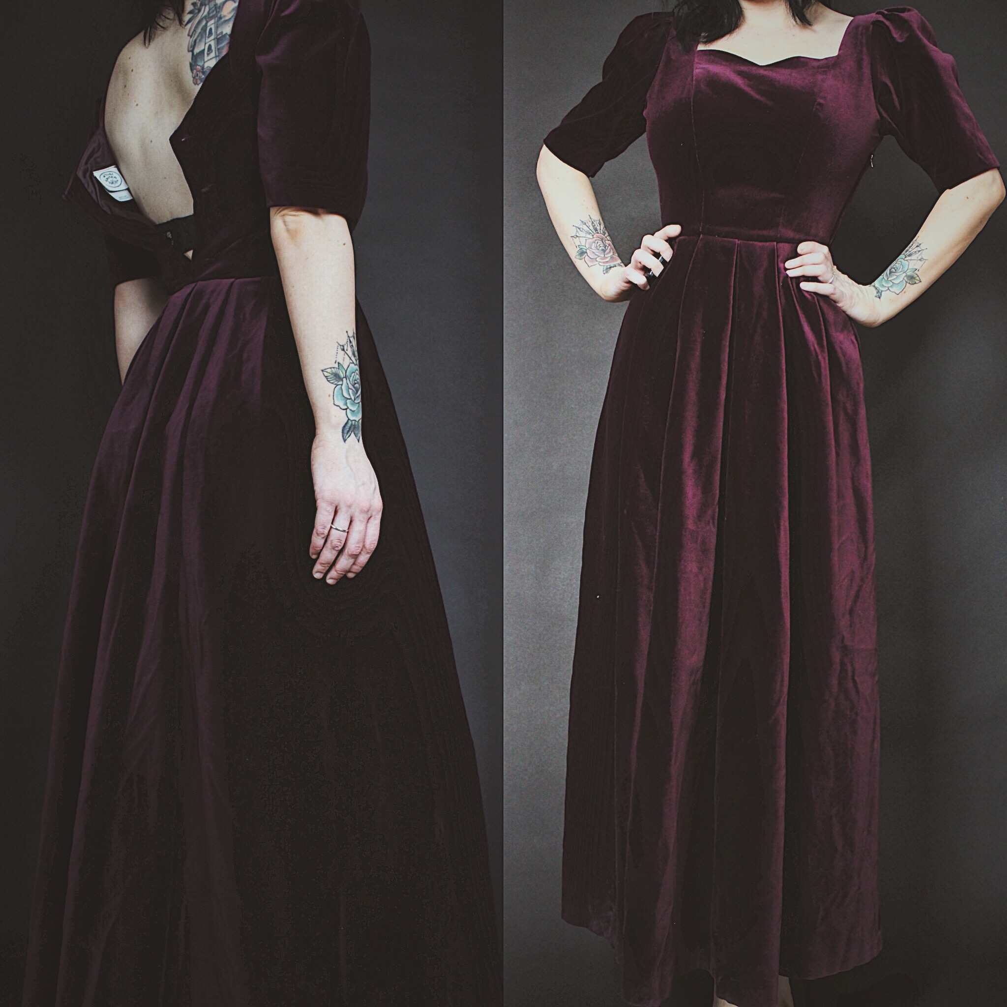 RESERVED FOR @angel.of.darkness0315 - Vintage 90s Laura Ashley Burgundy  Velvet Sweetheart Gown from Last Rites