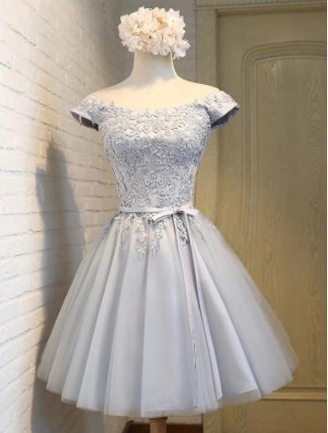 Cap aleeves short prom dress,cheap light grey homecoming dress,FSS6 ...