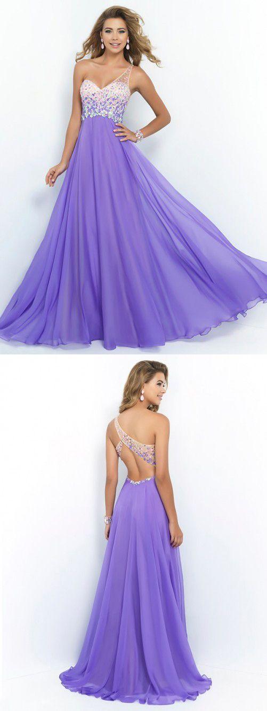 One Shoulder Purple Prom Dress