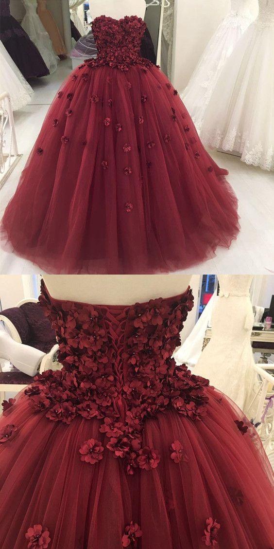 maroon quinceanera dress, burgundy strapless prom dress, flower ball ...