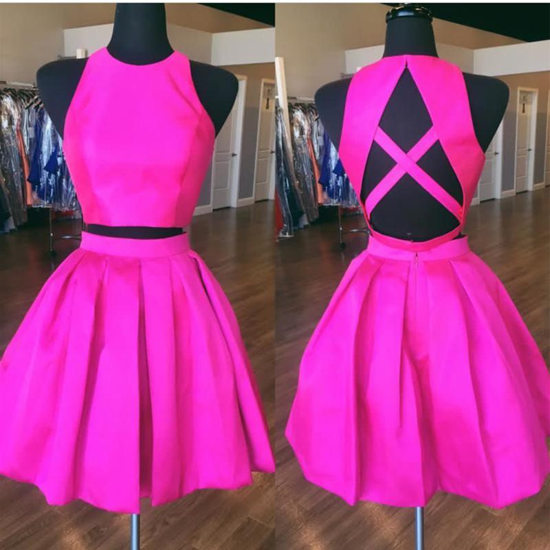 Two Piece Short Hot Pink Homecoming Dress Halundress