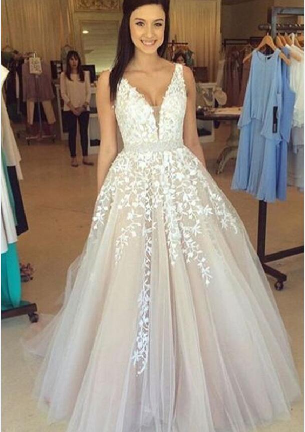 Off shoulder lace Prom dress, A line