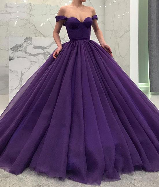 Princess Ball Gown Purple Off the Shoulder Long Prom/Evening Dresses ...