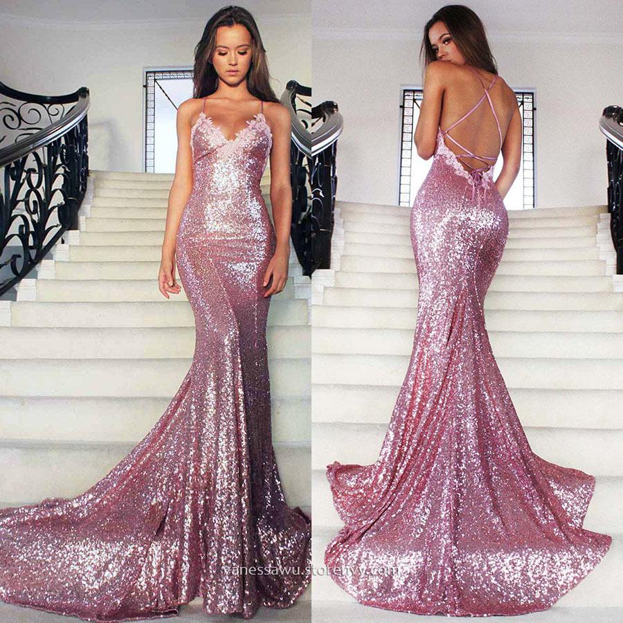 Sparkly Long Prom Dressestrumpetmermaid V Neck Evening Dresses