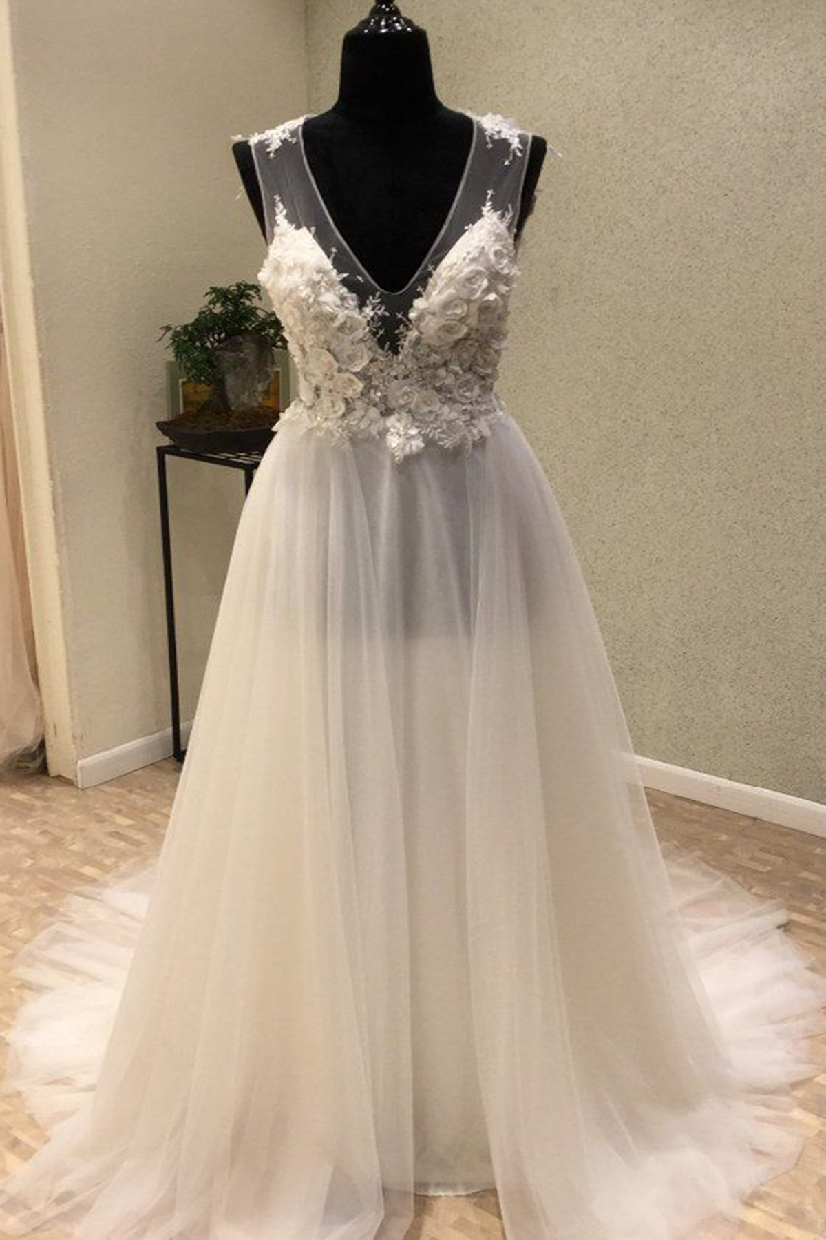 Cheap Prom Dresses by SweetheartDress · Ivory tulle V neck long V ...