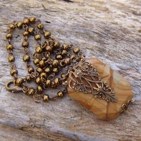 Wood Jasper and Antique Gold Pendant with Beaded Necklace