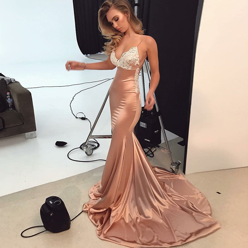 Sexy Straps Mermaid Long Formal Evening Dress Party Dress Prom