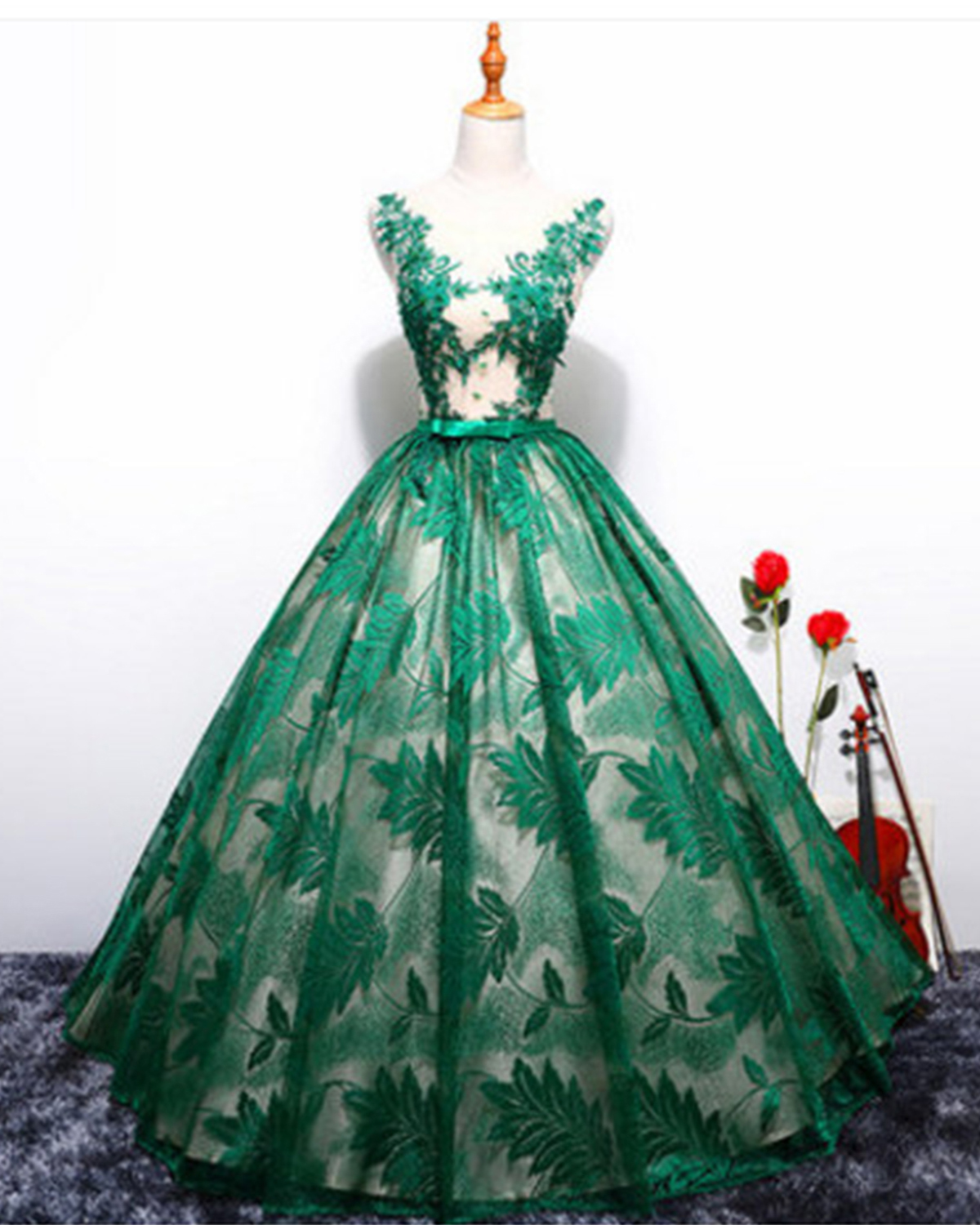 Spring green lace long A-line evening dress, green formal prom ...
