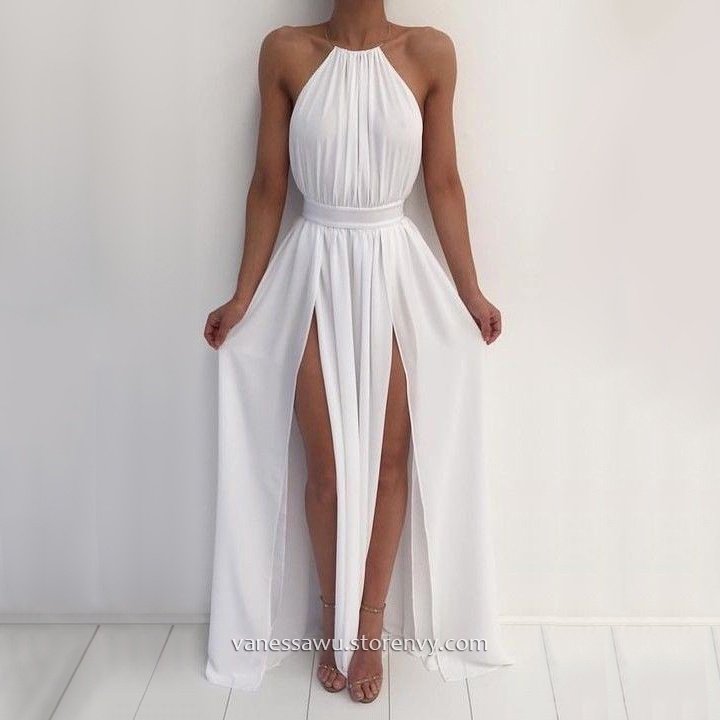 Cheap Prom Dresses,A-line Halter Long Prom Dresses,Cute Chiffon ...