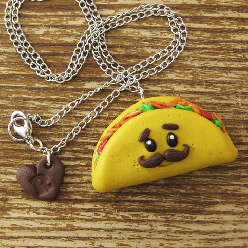 Mustache Taco Polymer Clay Necklace On Storenvy