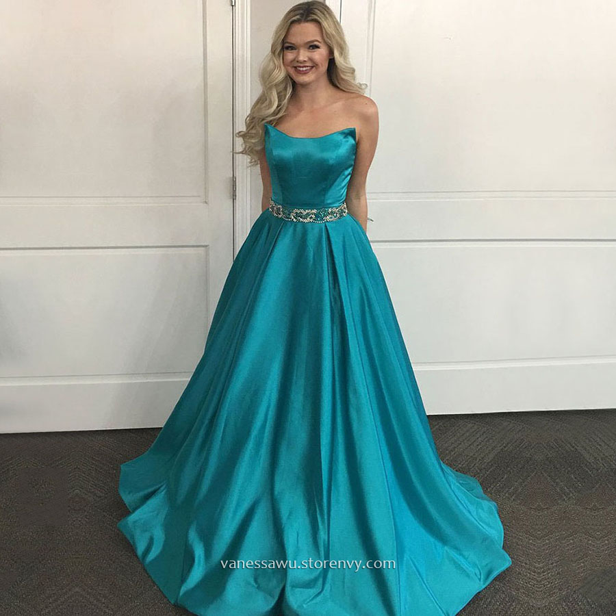 Cheap Prom Dresses,Princess Strapless Long Formal Dresses,Sweep ...