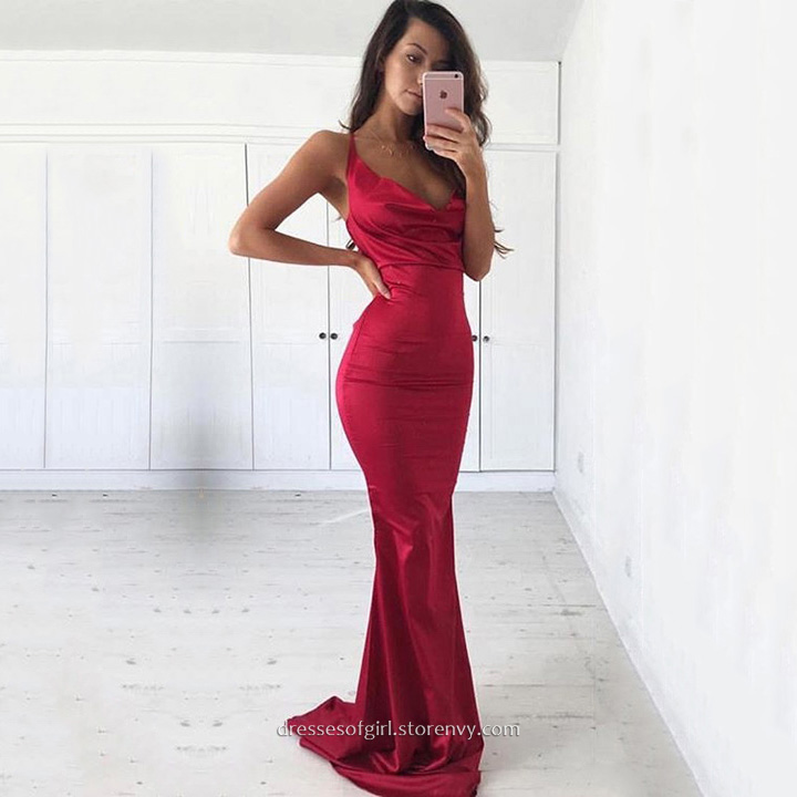 Cheap Prom Dresses,Sheath/Column Cowl Neck Long Formal Dresses,Red ...