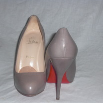 Christian Louboutin Feticha Taupe Leather Heels...