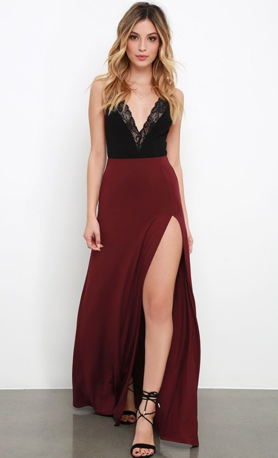 Burgundy evening Dresses Wine Red Black Lace Party Gowns · lass ...