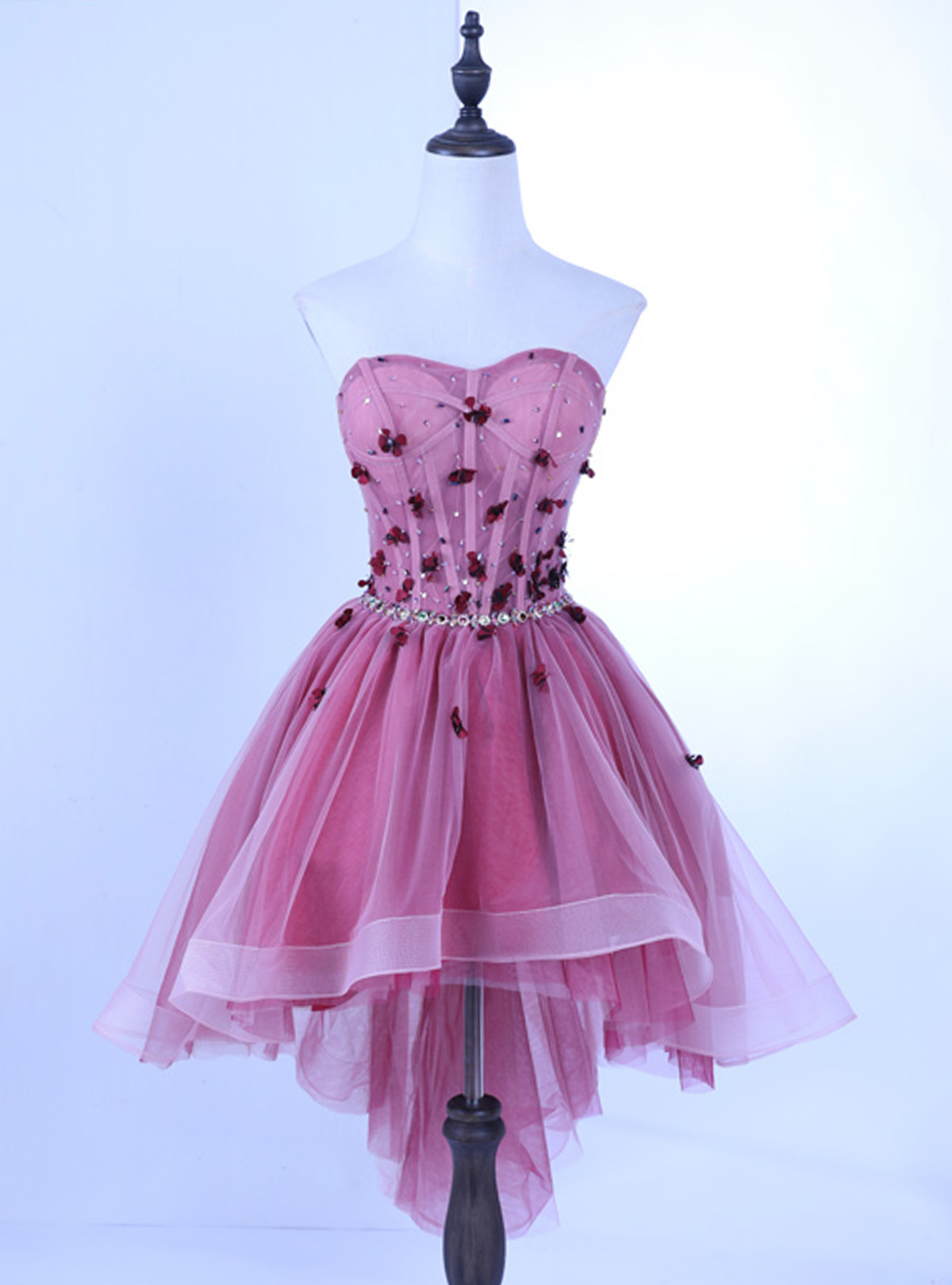 Spring pink tulle sweetheart high low prom dress, party dress ...