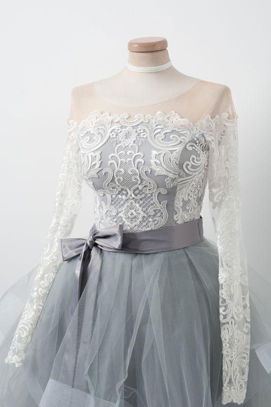 Beautiful A-Line Round Neck Long Sleeves Gray Tulle Short Homecoming ...