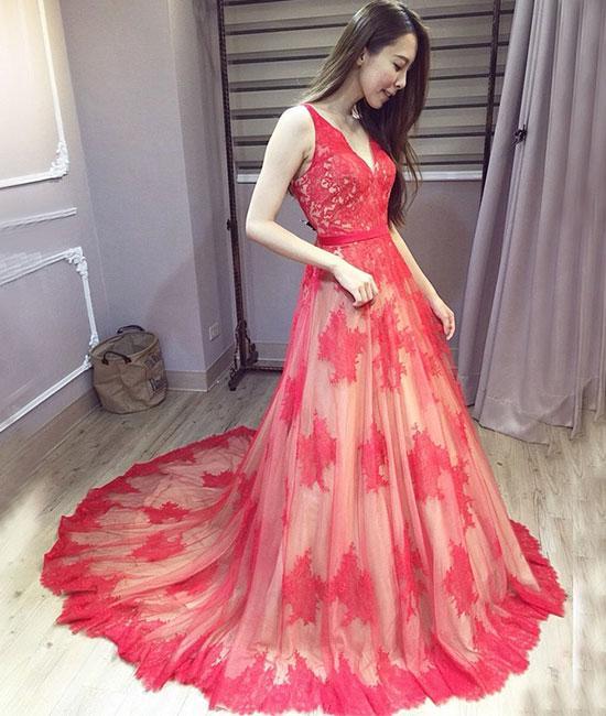 Charming Prom Dress,Lace Prom Dress,Backless Pom Dress,V-Neck Prom ...