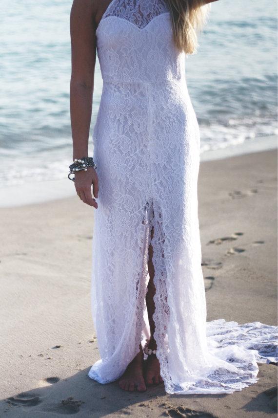 2018 Halterneck French lace wedding dress, Boho wedding dress, Beach ...