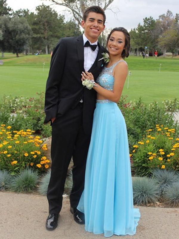 Custom Made A Line Round Neck 2 Pieces Light Blue Long Prom Dress ...