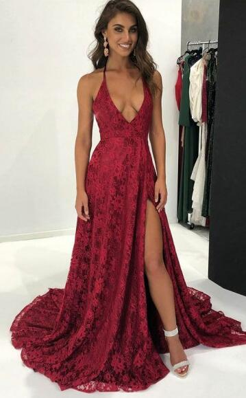2018 Deep V-Neck Prom Dress,Dark Red Split Prom Dress,Lace Prom ...