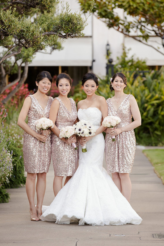 Sleeveless V-neck Sequin Lace Bridesmaid Dresses DPB10037 ...