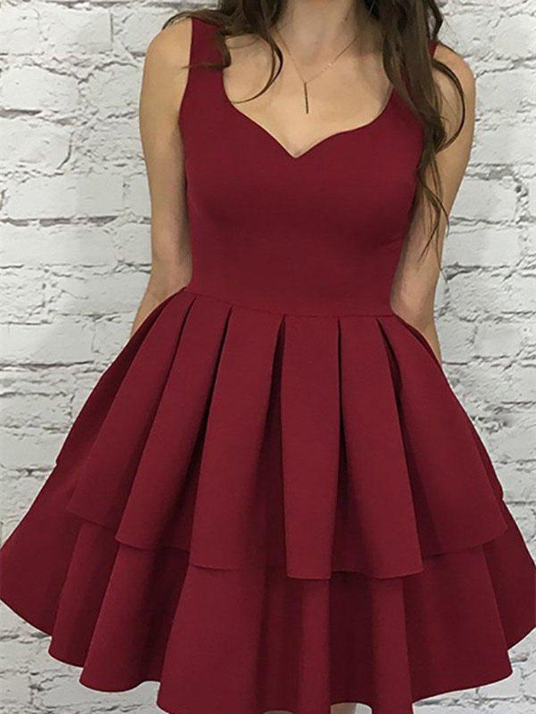 Custom Made Sweetheart Neck Short Burgundy Prom Dress, Short ...
