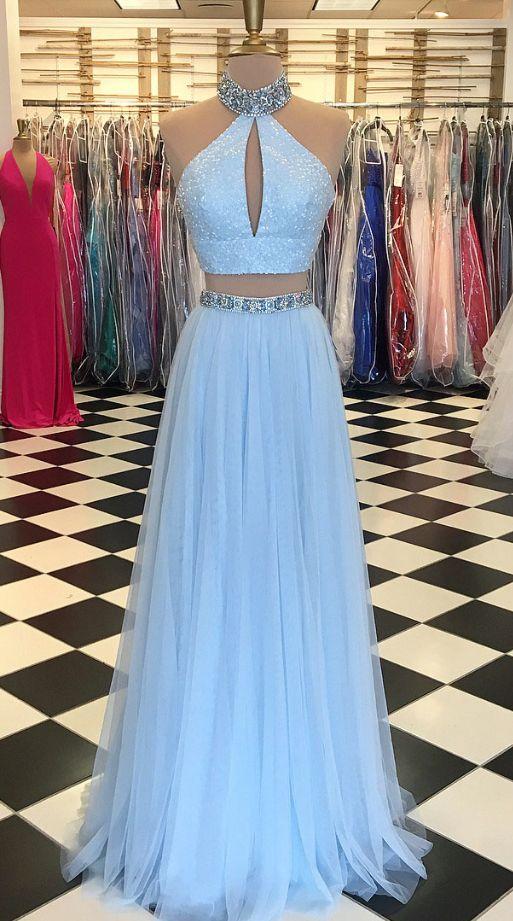 Light Blue Beaded Prom Dress,High Neck Two Piece Prom Dresses,Split ...