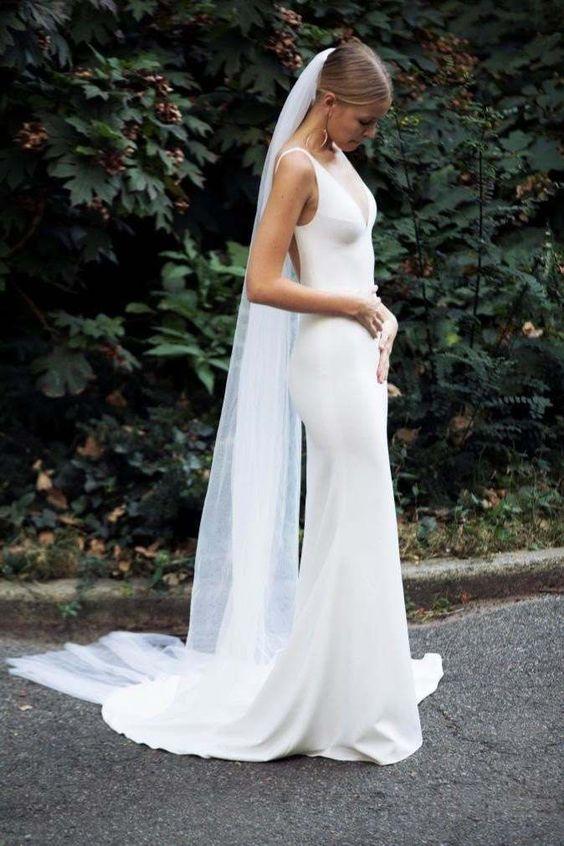 Simple Elegant Mermaid Wedding Dresses, Beach Deep V Neck Bridal ...