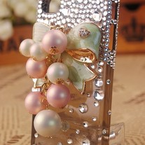New Green Bling Bow With Big Pearl Grapes On Transparent Brown Case For iPhone 4