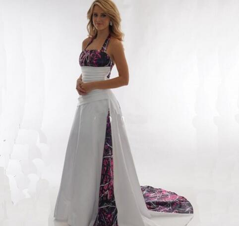 New Arrival Camo Wedding Dresses Halter A Line Pleated Satin Long