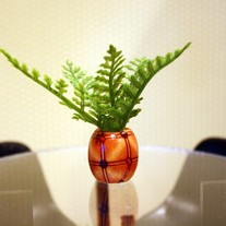 Handmade Potted Fern Plant in Wood Base